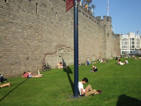 Hanging outside Cardiff Castle, Wales, backpacksandblackboards.com